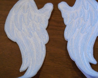pair of angel wings embroidered iron on patches ready to ship