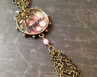 Pink Floral Dream Studded Necklace with Flowers and Tassel