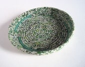 Coiled Basket - Green Storage Tray - Fabric Basket - Night Table Catchall - Display Dish for Angel Cards - Free Shipping