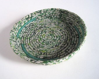 Coiled Basket - Green Storage Tray - Fabric Basket - Night Table Catchall - Display Dish for Angel Cards