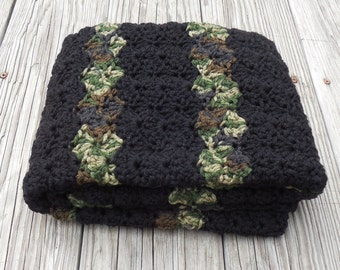 "Crochet Black and Camouflage Waves Crochet Baby Blanket Two Colored Crochet Baby Blanket 24"" x 32"""