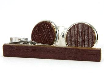 Cufflink Tie Clip Set – Wine Barrel Silver Cufflink Tie Bar Set - Cool Gifts For Men - Anniversary, Wedding, Birthday, Father's Day