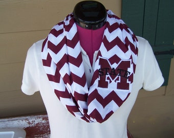 Mississippi State Maroon & White Game Day Chevron Infinity Scarf  Knit Jersey