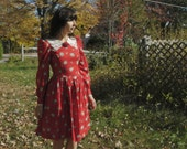 70s or 80s girls prairie dress - flower and paisley design - puff sleeves and lace collar