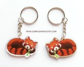 wood or acrylic Red Panda key chain