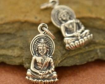 Sterling Silver Buddha Charm - Lotus Blossom, Yoga, Meditation