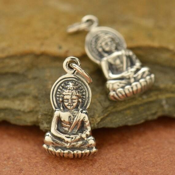 Sterling Silver Buddha Charm -  C606, Lotus Blossom, Yoga, Meditation