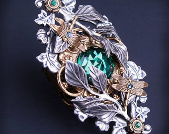 Large Statement Ring Victorian Emerald Ring Dragonfly Ring Inspired By Nature