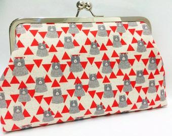 clutch purse - bearly tri ing   -   8 inch metal frame clutch purse - large purse -   bear - triangle - geo - kiss lock clutch
