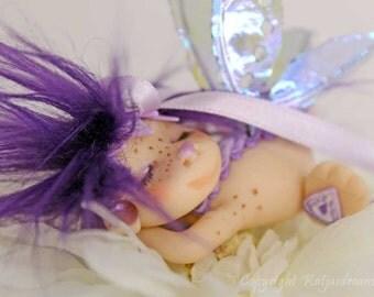 Flower fairy Celina fae faerie troll gnome in violet ooak art doll miniature fantasy sculpture