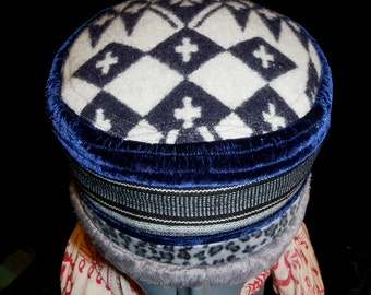 Hat Antique Blue Velvet Guatemala Black Gray White Stripe Pendleton Wool Deep Blue White Crosses Cap Unisex Kufi Hat