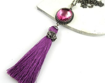 Sterling silver purple necklace, gemstone fine necklace, metalwork and wire wrap jewelry, romantic retro jewelry