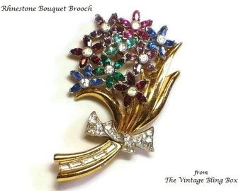 Gold Rhinestone Flower Bouquet Brooch in Pave Set Baguette & Chaton Cut Crystals in Floral Motif - Art Deco 30's Figural Costume Jewelry