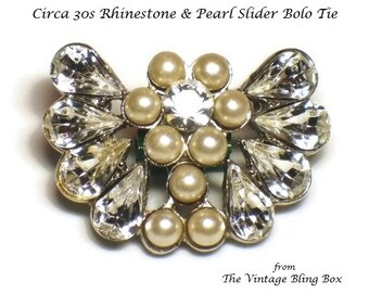 30s Rhinestone Slider Bolo Tie with Pearl Cluster Rosette in Silver - Retro Circa 1930's Costume Jewelry Accessories
