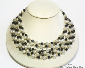 50s Gold 3 Strand Pearl & Black Bead Necklace in Double Strands Chain Link Design with Button Clasp Closure - Vintage 50's Costume Jewelry