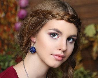 Dark Blue fabric bead earrings