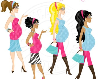 Glamorous & Expecting Cute Digital Clipart - Commercial Use OK - Diva Pregnant Woman Clipart, Glamorous Pregnant
