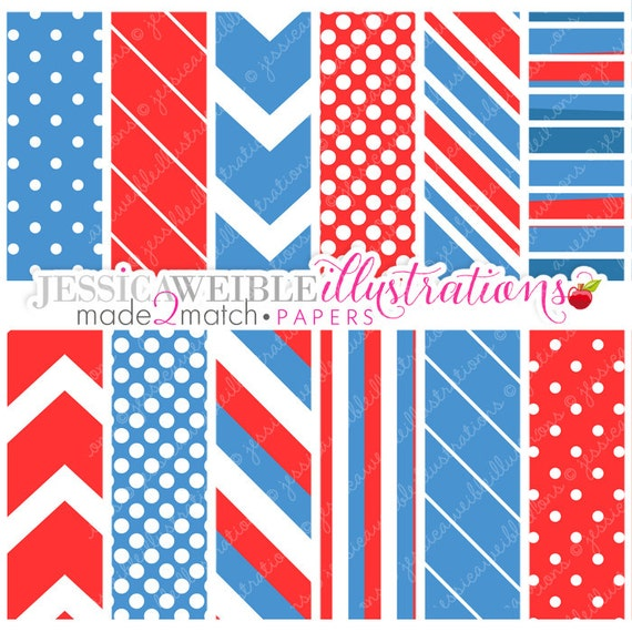 Patriotic Baby Cute Digital Papers - Commercial Use OK - Patriotic Digital Papers, 4th of July, Red White and Blue Patterns