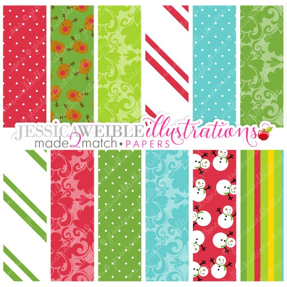 Christmas Morning Cute Digital Papers for Commercial or Personal Use, Christmas Patterns, Christmas Papers