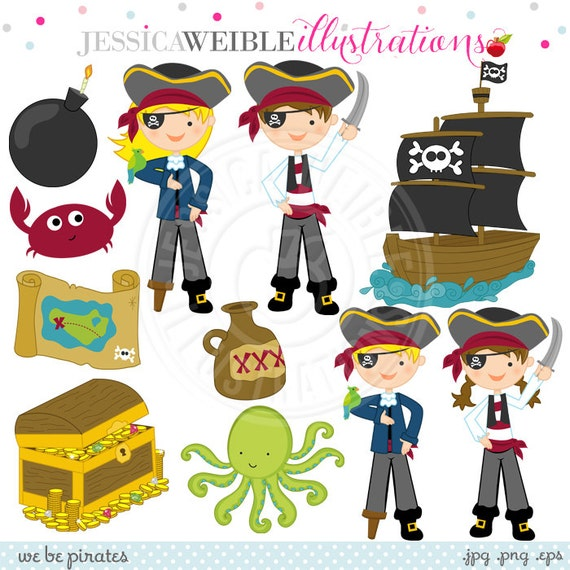 We Be Pirates Cute Digital Clipart - Commercial Use Ok - Pirate Clipart, Pirate Graphics, Pirate Kids, Pirate Ship, Treasure