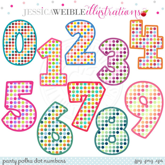 Party polka dot numbers cute digital clipart commercial for Blueprint number