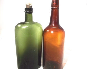 Vintage Glass Bottles, Two One-Quart Bottles with Corks in Dark Green and Brown