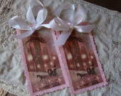 Pink Christmas tags ornaments paper tags Pink snowy city scene gift tags vintage card glittered pink white Shabby Chic Pink Christmas decor