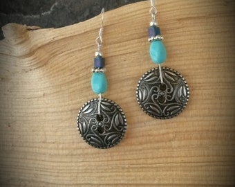 Blue Antique Silver Button Sterling Silver Earrings, Blue Button Earrings, Silver Button Blue Sterling Earrings