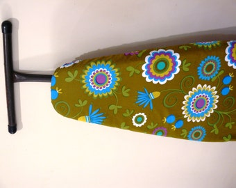 Ironing Board Cover - Retro bright aqua flowers on moss green - Decor