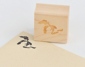 Great Lakes Stamp : Michigan Wood Mounted Rubber Stamp