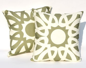 Pesto & Garlic Loop Reversible Throw Pillow Cover : Double Sided Cushion Cover