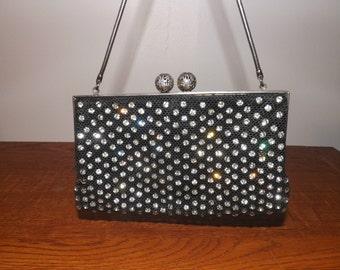Vintage Rhinestone  Beaded Black Evening Bag Purse