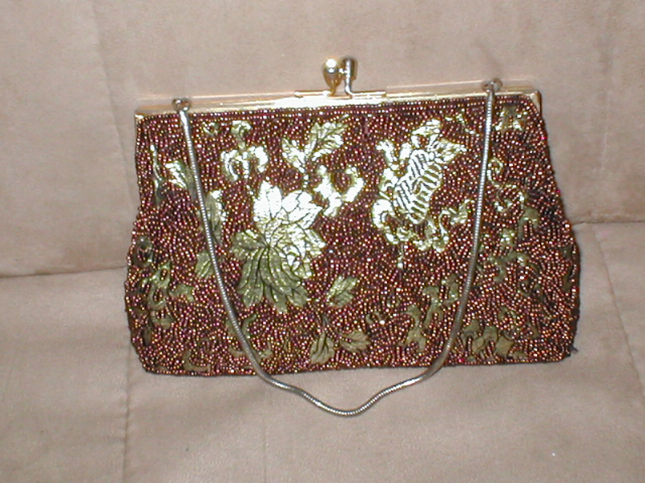 vintage copper gold beaded evening purse