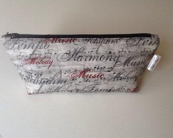 Gray and Wine Music Makeup Bag