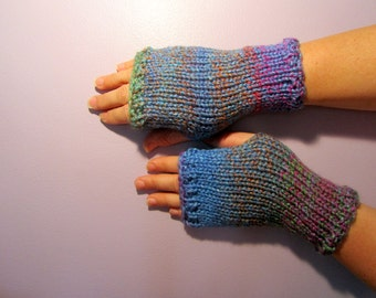 Fingerless Gloves - Blue, Green, Pink, Orange Mix Hand Knit Fingerless Gloves