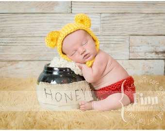 """Pooh Bear Bonnet Diaper Cover Set, """"Hunny Bear"""" Knit Baby Hat, Cub, Newborn Hand Knitted Cap, Infant Photo Prop,Winnie the Pooh, Yellow, Red"""