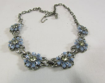 Vintage 1960s Periwinkle Blue and Rhinestone Flower Choker Necklace Silver Tone Setting