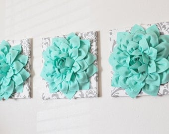 Dahlia Flower Wall Art~ Shown in Mint on White Gray Damask ~ Choose Your Colors ~SET OF THREE Colorful Wall Decor