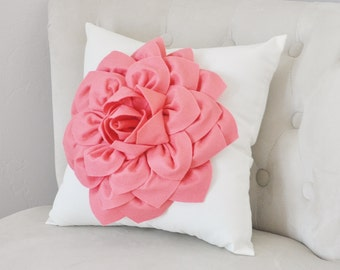 Light Coral Dahlia Felt Flower on Ivory Pillow - Baby Girl Nursery Decor- Pick your Colors Pink Coral Flower Pillow