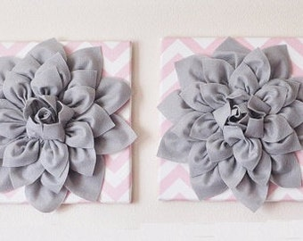 "TWO Flower Wall Decor -Gray Dahlias on Light Pink and White Chevron 12 x12"" Canvases Wall Art- Baby Nursery Wall Decor-"