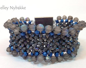 Farfalle Fever Bracelet - Denium Blue edged in Firepolish/Melons