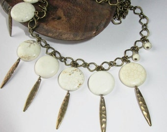 BOHO necklace Spikes with White Howlite Discs Coins