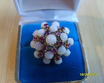 Gold Princess Ring, 10K Gold Opal and Ruby Princess Ring, Dinner Ring, Opal Ring, Ruby Ring, Ladies Ring