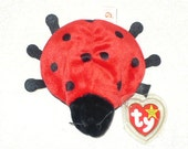 Vintage Ladybug Stuffed Animal Made by Ty Beanie Babie Name on tag Lucky Ladybug - Comes With Free Teanie Beanie Toy of our Choice