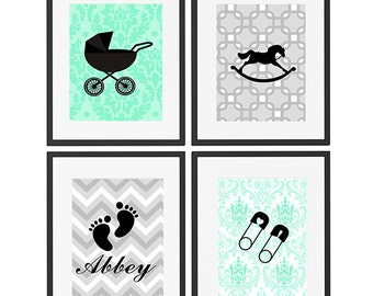Infant Baby Nursery Art Prints Collection - set of 4 Modern Baby Girls/ Boys {UNFRAMED} personalized name art- colors can be changed!!!:)