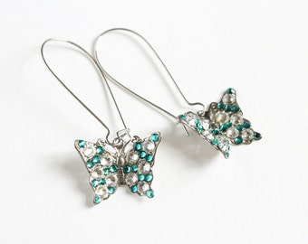 Turquoise Butterfly Earrings with Swarovski Crystals on Kidney Ear Wire