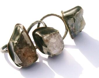 Luna Druzy Specimen Ring