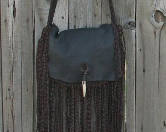 Boho handbag , Fringed handbag , Statement handbag, Fringed bohemian purse, Fringed pssibles bag, Leather crossbody bag , Leather handbag