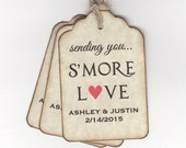 Personalized Smore Wedding Favor Tags, Tags For S'more Wedding Shower Party Favors - Vintage Style Set of 50