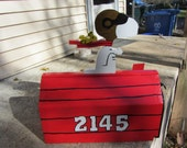 Handmade custom designed cartoon Red Baron dog and bird  functional mailbox